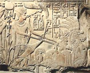 Pharaoh Ahmenopolis in his war chariot. The ancient Egyptians are now believed to have derived from the Libyan desert, when, believe it or not, it became flooded in very ancient times!!