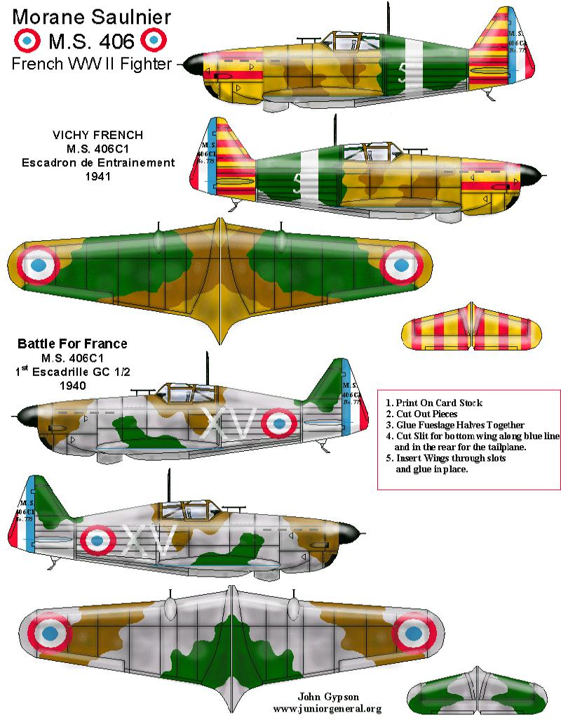 French Morane Saulnier 406 fighter 1940 - CLICK FOR LINK TO JUNIOR GENERAL SITE