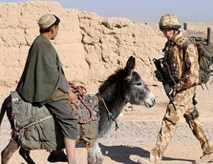 Prince Harry of England on patrol in Helmand province