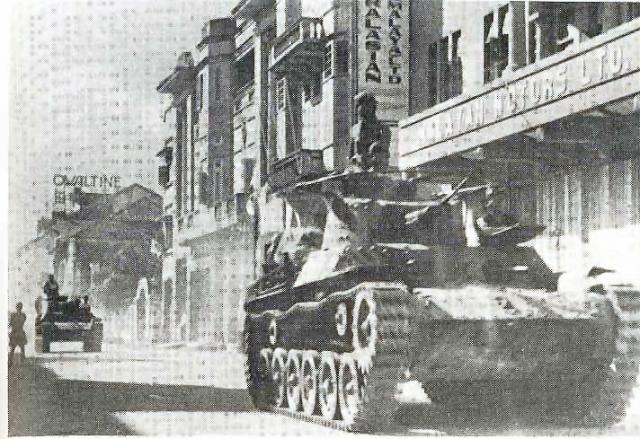 Japanese tank in Orchard Rd Singapore 1942