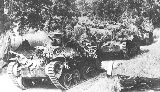 camouflaged type 95 tanks in malaya