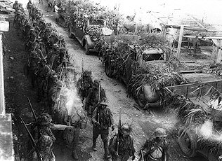Nipponese troops entering Indochina