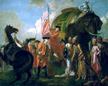 Robert Clive accepts the Nabobs surrender after Plassey