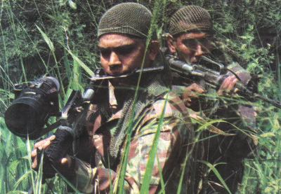 Sinhalese Police scouts in the eastern jungles