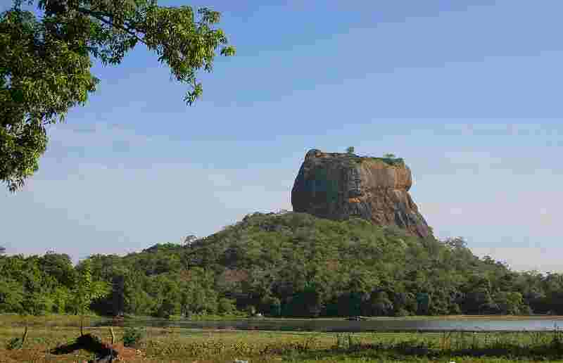The northern rock fort of Sigiriya - built c500AD by the usurping patricide Prince Kassapa as a defence against his brother Mogillana. The defences included crocodiles in the moats. In the event, the contest was decided in the field nearby, with Kassapa the loser