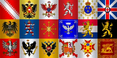 C18 standards: Alsace, Austria, Brandenburg, Bohemia, France, Great BritainMiddle Row: Germany, Hesse, Kleves, Modena, Netherlands, PalatinateBottom Row: Poland, Prussia, Russia, Spain, Tuscany, Venice.