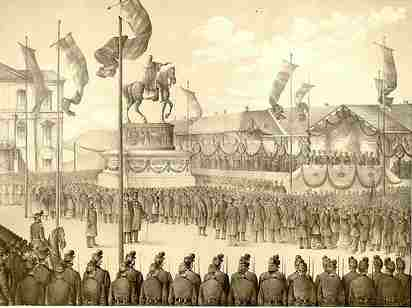 Serbs parade in Belgrade 1882