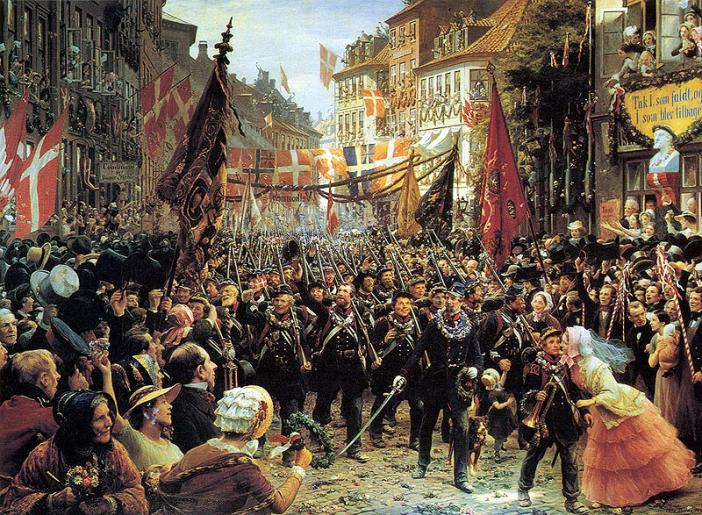 The victorious Danish army returns from Holstein marches down Stroeget 1849