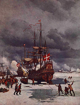 the Baltic often freezes over in Winter - permitting Swedish armies to cross to the Danish islands in 1659 and on other occasions too