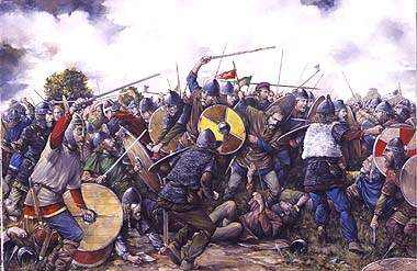 The Norwegian King Harald Hardrada is killed by King Harold at Stamford Bridge 1066