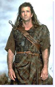 William Wallace as portrayed by Mel Gibson. The Highland dress is of one of the few authentic items in the film, but would not have been worn by Walllace, who was a lowland squire descended from the Normans!!