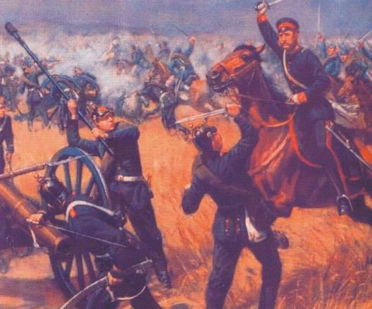 Prussian dragoons charge Saxon artillery