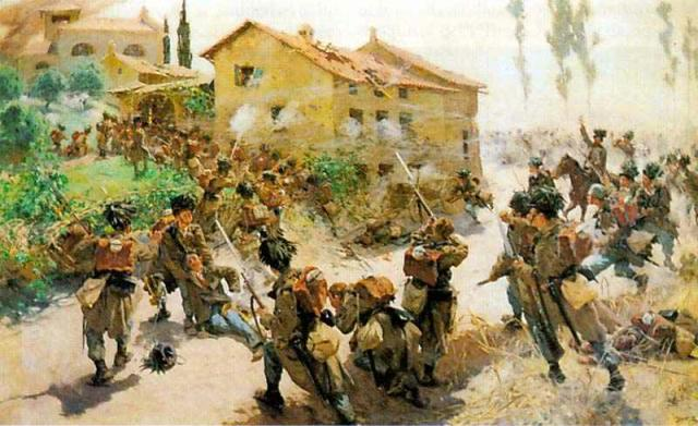 Austrian jaegers assault Custozza in Lombardy 1866