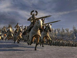 Teutonic knights charge over frozen Lake Peipus against the army of Nevsky in the thirteenth century