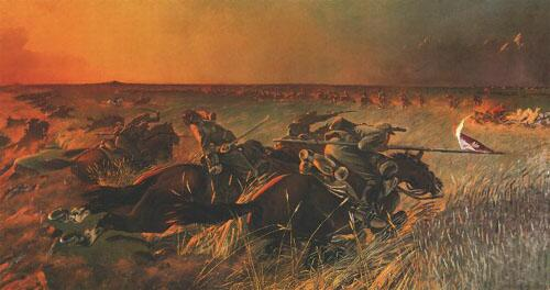 Polish lancers charge at Wolodarka