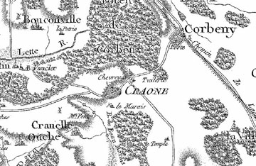 period map of the Craone area 1760 - 90