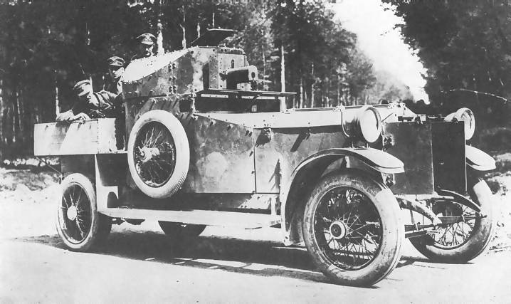 A Rolls Royce armoured car crewed by Bladk and Tans in 1921