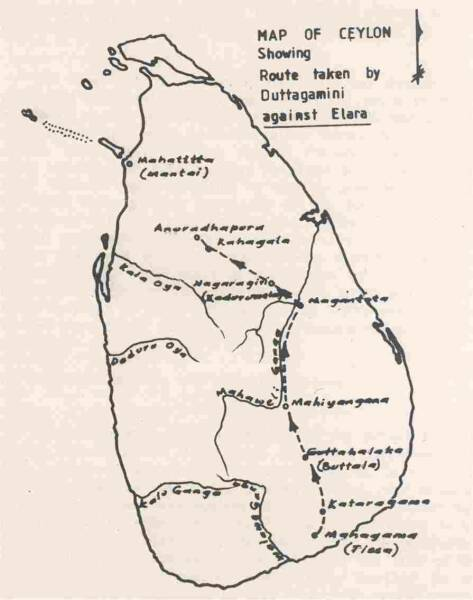 Map showing the earliest recorded Sinhalese campaign against the Tamils.