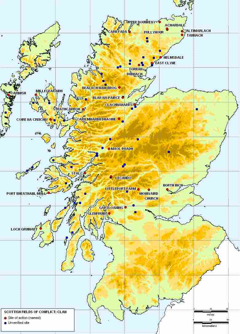 Double click and expand for Map of Highland clan battles through the centuries