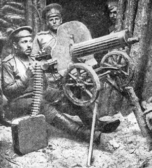 a Maxim gun is used as AA defence